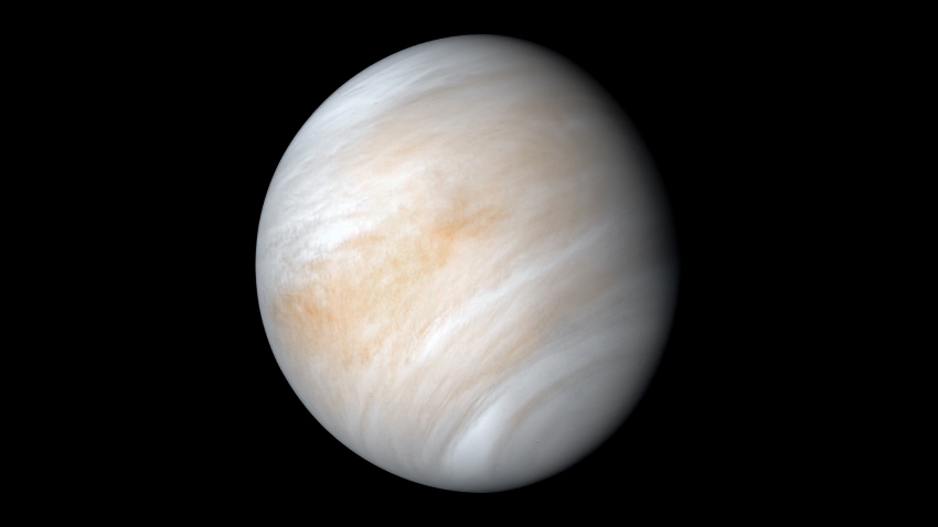 Venus as seen from NASA's Mariner 10 spacecraft during its 1974 trip, as seen in this newly processed image released 46 years later.