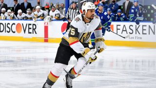Ryan Reaves #75 of the Vegas Golden Knights skates in the second period of Game Four of the Western Conference Second Round of the 2020 NHL Stanley Cup Playoff between the Vegas Golden Knights and the Vancouver Canucks at Rogers Place on Aug. 30, 2020 in Edmonton, Alberta.