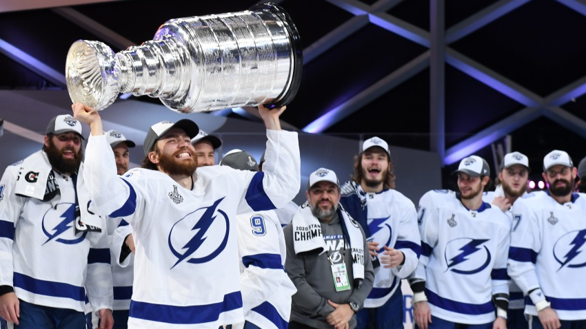 Tampa Bay Lightning defeated the Dallas Stars 2-0 in Game Six of the NHL Stanley Cup Final to win the best of seven game series 4-2 at Rogers Place on September 28, 2020 in Edmonton, Alberta, Canada.