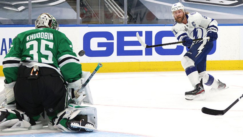 Goaltender Anton Khudobin #35 of the Dallas Stars can't make the save on a wrist shot for a goal by Steven Stamkos #91 of the Tampa Bay Lightning in the first period of Game Three of the NHL Stanley Cup Final between the Tampa Bay Lightning and the Dallas Stars at Rogers Place on Sept. 23, 2020 in Edmonton, Alberta, Canada.