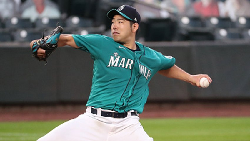 Yusei Kikuchi #18 of the Seattle Mariners pitches in the fifth inning against the Texas Rangers at T-Mobile Park on Sept. 4, 2020 in Seattle, Washington.