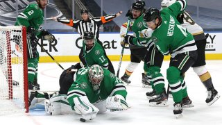 Goaltender Anton Khudobin #35 of the Dallas Stars makes a save in the second period of Game Four of the Western Conference Final of the 2020 NHL Stanley Cup Playoffs between the Vegas Golden Knights and the Dallas Stars at Rogers Place on Sept. 12, 2020 in Edmonton, Alberta.