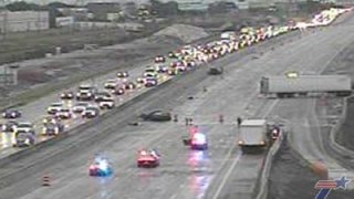A crash involving an 18-wheeler closed Interstate 635 Wednesday morning in Lake Highlands, leading to major traffic delays during the morning rush.