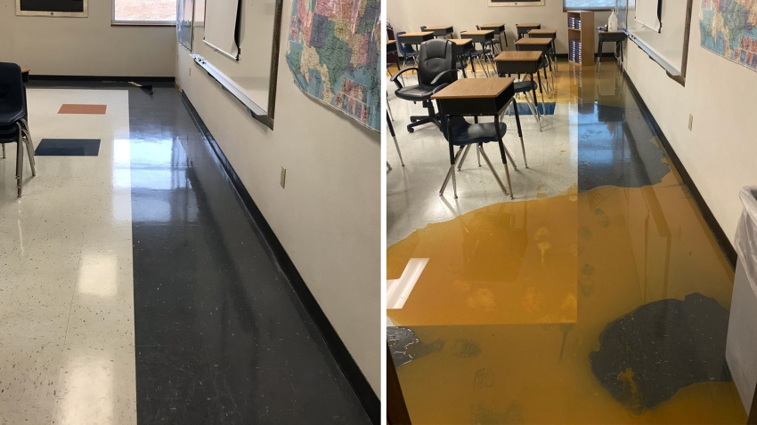 A before (left) and after (right) photo shows flooding inside Lake Dallas High School.