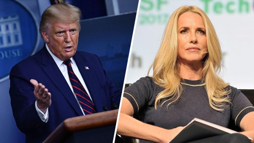 (Left) President Donald Trump; (Right) Laurene Powell Jobs.