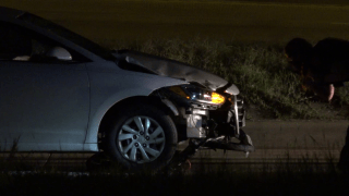 A bicyclist was critically hurt after being struck by a car overnight in Denton, police say.
