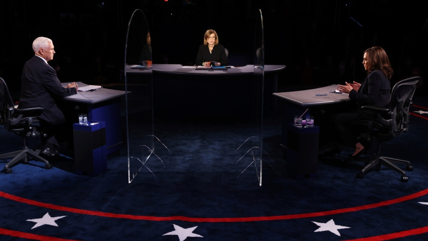 An image of the stage during the vice presidential debate in 2020
