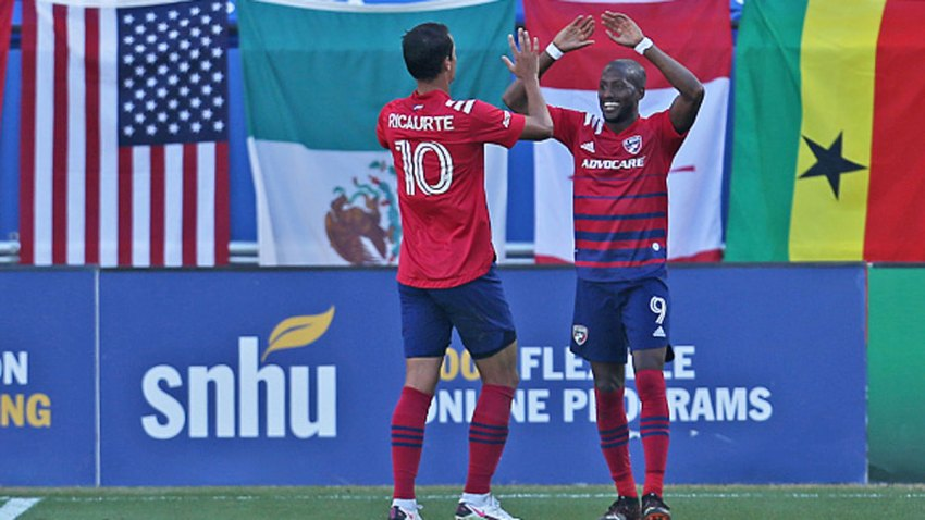 Fafa Picault #9 of FC Dallas celebrates with his teammate Andrés Ricaurte #10 after scoring a goal during the MLS game between Houston Dynamo and FC Dallas at Toyota Stadium on Oct. 31, 2020 in Frisco, Texas.