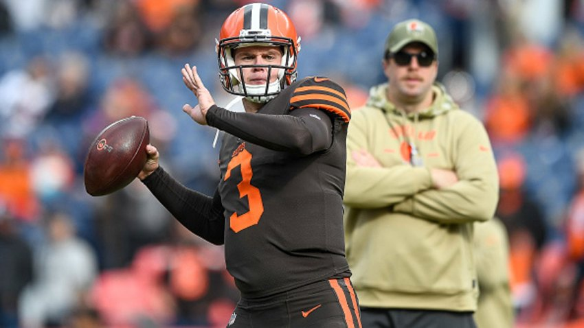 Garrett Gilbert #3 of the Cleveland Browns throws as he warms up before a game against the Denver Broncos at Empower Field at Mile High on Nov. 3, 2019 in Denver, Colorado.