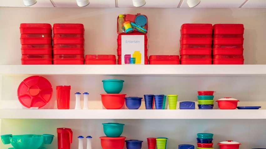 KISSIMMEE, FLORIDA, UNITED STATES - 2019/01/21: Tupperware storage products on display at the corporate headquarters store.