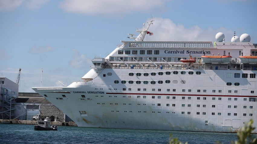 MIAMI, FLORIDA - APRIL 18: The Carnival Sensation cruise ship is seen at PortMiami on April 18, 2019 in Miami, Florida. Reports indicate that Carnival Corporation repeatedly broke environmental laws even during its first year of being on probation after being convicted of systematically violating environmental laws.