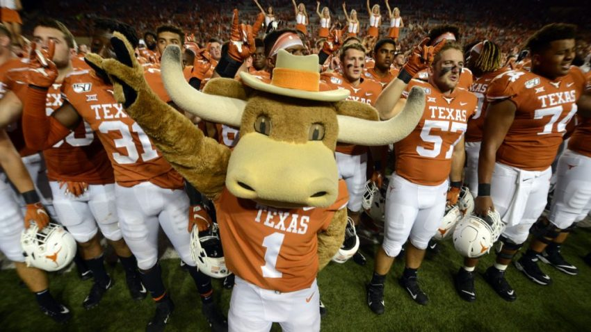 "Texas Longhorns mascot ""Hook 'em"" leads the team in singing the ""Eyes of Texas"" after 45 - 14 win over the Louisiana Tech Bulldogs on August 31, 2019, at Darrell K Royal-Texas Memorial Stadium in Austin, Texas."