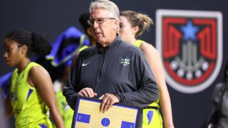 Head coach Brian Agler of the Dallas Wings looks on during the game against the Chicago Sky on September 11, 2020 at Feld Entertainment Center in Palmetto, Florida.