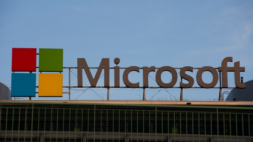 Microsoft sign and logo are seen on September 14, 2020 in Warsaw, Poland.