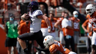 Max Duggan #15 of the TCU Horned Frogs rushes past Caden Sterns #7 of the Texas Longhorns for a touchdown in the fourth quarter at Darrell K Royal-Texas Memorial Stadium on Oct. 3, 2020 in Austin, Texas.