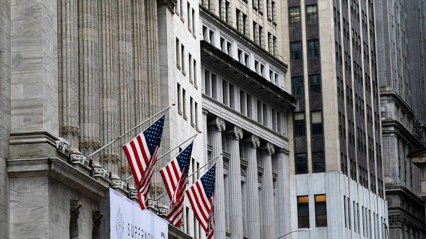 American flags hang outside the New York Stock Exchange, Oct. 26, 2020.
