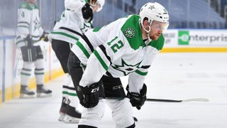 Radek Faksa #12 of the Dallas Stars warms up before Game Two of the Western Conference Second Round of the 2020 NHL Stanley Cup Playoff Between the Dallas Stars and the Colorado Avalanche at Rogers Place on Aug. 24, 2020 in Edmonton, Canada.