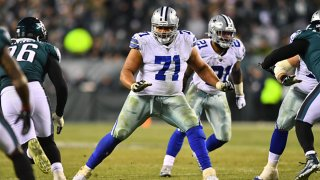 Dallas Cowboys Offensive Tackle La'el Collins (71) readies to block in the second half during the game between the Dallas Cowboys and Philadelphia Eagles on Dec. 22, 2019 at Lincoln Financial Field in Philadelphia, Pennsylvania.