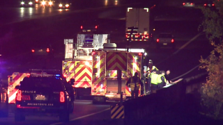 One person was killed Wednesday night in Arlington when their car veered off Interstate 20 and crashed into a creek before bursting into flames, police say.