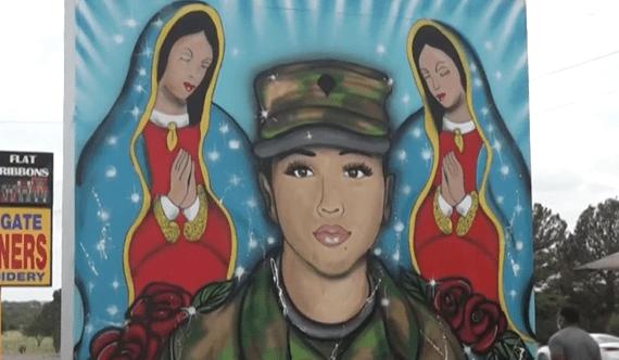 A mural honors slain US Army Spc. Vanessa Guillen in Killeen, Texas.
