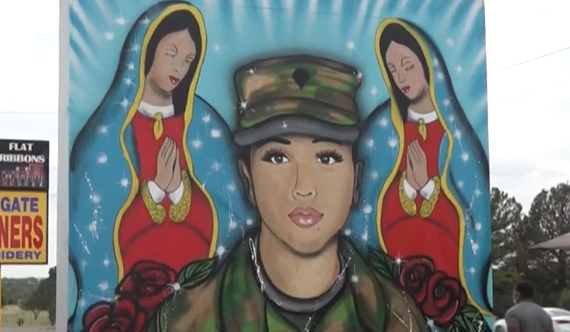 A mural honors slain US Army Spc. Vanessa Guillen in Killeen, Texas.