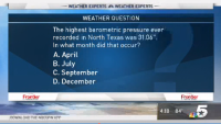 Weather Quiz: When Was the Highest Barometric Pressure Ever Recorded in North Texas?