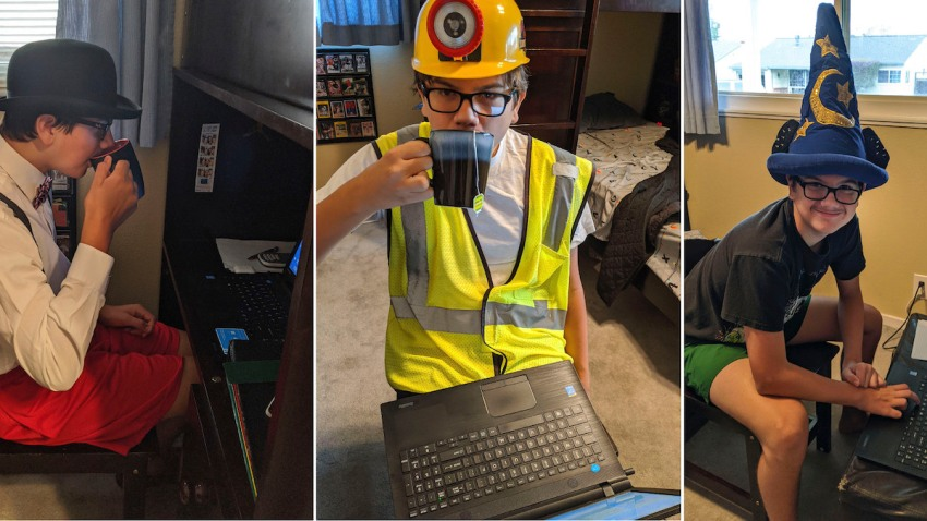 Logan Houghtelling, dresses in a variety of costumes, from a gentleman in a bowler hat and bowtie on Aug. 21, 2020, to a construction worker on Sept. 15 and a Disney park visitor on Sept. 4