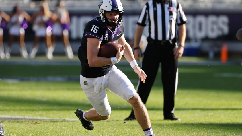 TCU quarterback Max Duggan (15) carries the ball against Texas Tech during the first half of an NCAA college football game Saturday, Nov. 7, 2020, in Fort Worth, Texas.