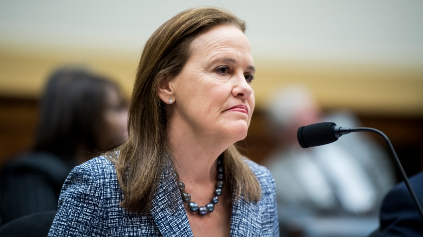 "In this March 13, 2019, file photo, Former Defense Undersecretary for Policy Michele Flournoy prepares to testify during the House Foreign Affairs Committee hearing on ""NATO at 70: An Indispensable Alliance."""
