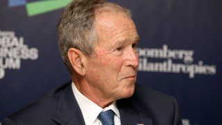 Former U.S. President George W. Bush listens speaking during the Bloomberg Global Business Forum in New York, U.S., on Wednesday, Sept. 25, 2019.