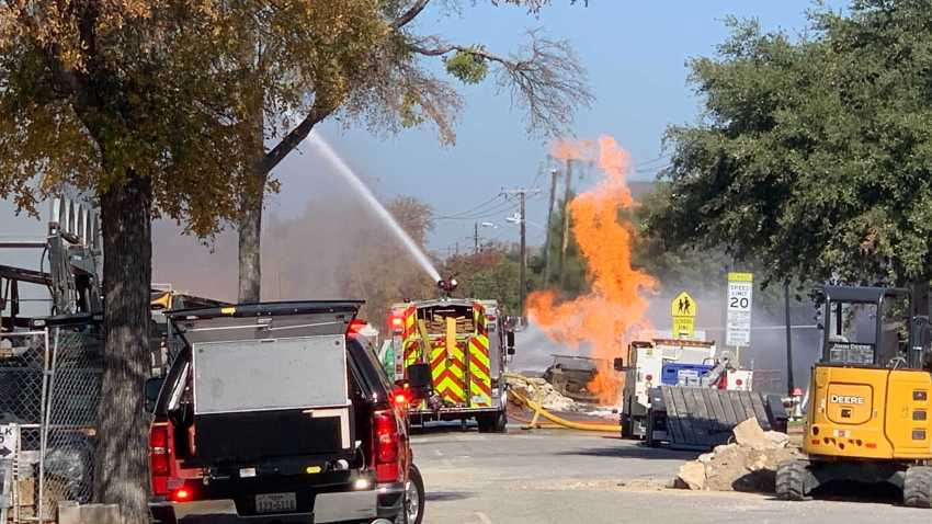 Flames could be seen coming from the area of Westchester Drive, near Emerson Avenue, near Highland Park High School, where a gas line erupted Saturday.