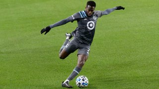 Kevin Molino #7 of Minnesota United FC kicks the ball during a game between Colorado Rapids and Minnesota United FC at Allianz Field on Oct. 28, 2020 in St Paul, Minnesota.