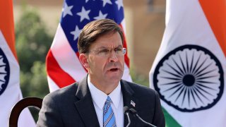 Mark Esper, U.S. Secretary of Defense, speaks during a news conference at Hyderabad House in New Delhi, India, Oct. 26, 2020.