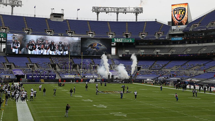 The Baltimore Ravens head onto the field before the game against the Tennessee Titans at M&T Bank Stadium on Nov. 22, 2020 in Baltimore, Maryland.