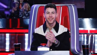 "File photo of Nick Jonas on set of season 18 of NBC's ""The Voice."""