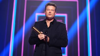 In this image released on November 15, Blake Shelton, The Country Artist of 2020, accepts the award onstage for the 2020 E! People's Choice Awards held at the Barker Hangar in Santa Monica, California and on broadcast on Sunday, November 15, 2020.