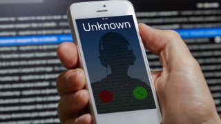 Picture of a phone getting called from an unknown number