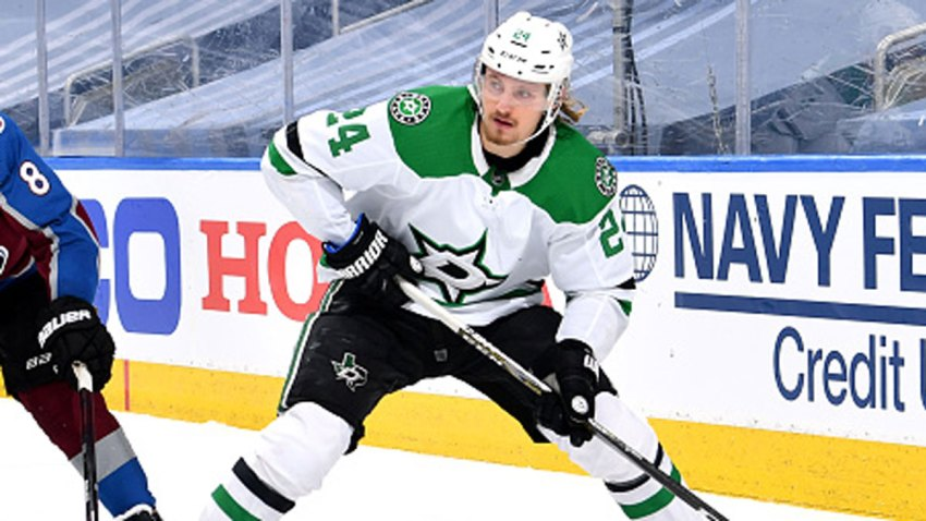 Roope Hintz #24 of the Dallas Stars controls the puck ahead of Cale Makar #8 of the Colorado Avalanche during the second period of Game Five of the Western Conference Second Round during the 2020 NHL Stanley Cup Playoffs at Rogers Place on Aug. 31, 2020 in Edmonton, Alberta.