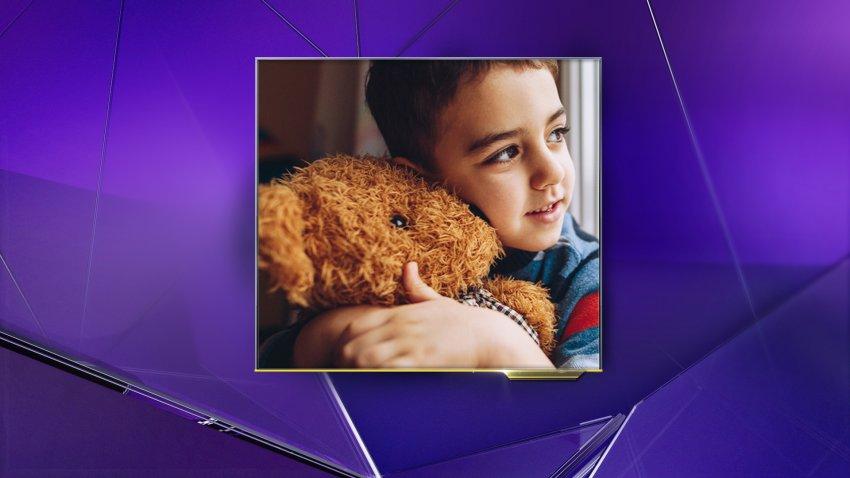 Little Boy Hugging a Teddy Bear
