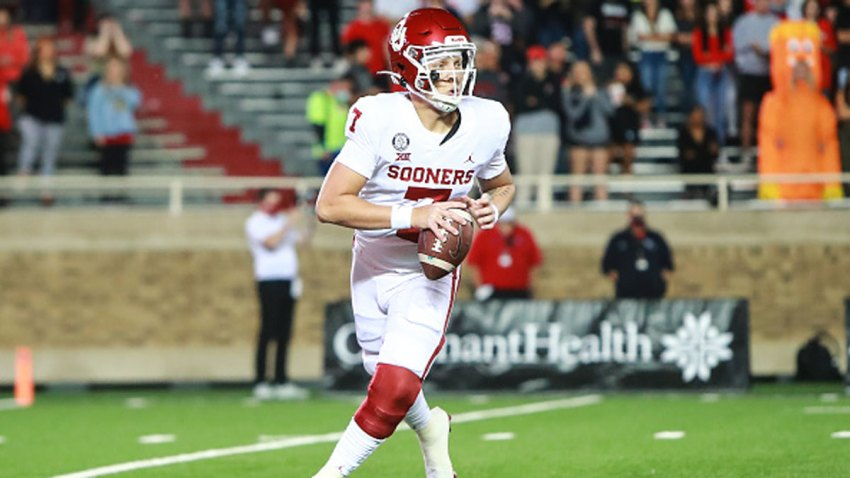 FILE - Quarterback Spencer Rattler #7 of the Oklahoma Sooners looks to pass during the first half of the college football game against the Texas Tech Red Raiders at Jones AT&T Stadium on Oct. 31, 2020 in Lubbock, Texas.