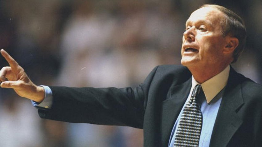 Head coach Billy Tubbs of the Texas Christian Horned Frogs calls from the sidelines during the game against the Gonzaga Bulldogs at the Daniel-Meyer Coliseum in Fort Worth, Texas. The Horned Frogs defeated the Bulldogs 90-87 on Dec. 30, 1998.