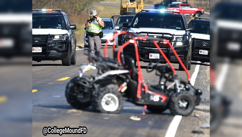 College Mound firefighters and the Kaufman Fire Department were called about 12:30 p.m. to FM2727 and CR167, where an SUV had struck a go-kart carrying six children.
