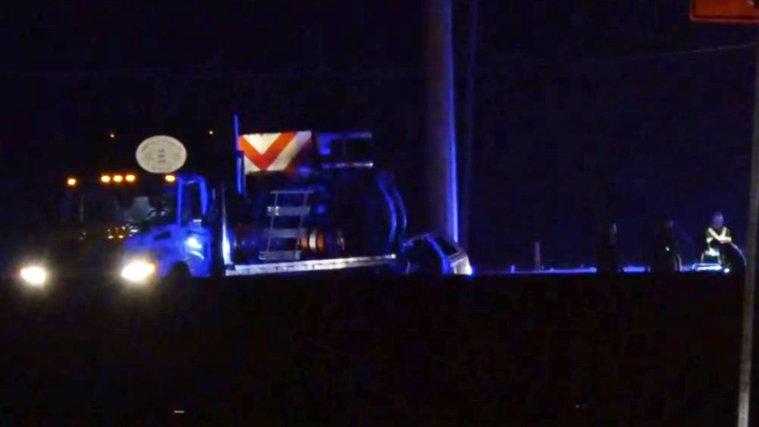 Deputies were called about 9:25 p.m. to westbound I-20 at Haymarket Road in Dallas, where a silver Chrysler Pacifica was on its side against the attenuator.