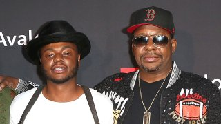 "Bobby Brown Jr. (left), and Bobby Brown (right) arrive at the premiere screening of ""The Bobby Brown Story"" presented by BET and Totota at Paramount Theater on the Paramount Studios lot on August 29, 2018 in Hollywood, California."