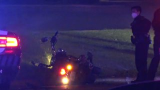 At about 3:40 a.m., the man, who had been driving a Kawasaki motorcycle, was found lying on the curb in the 10500 block of Shady Trail, police said.