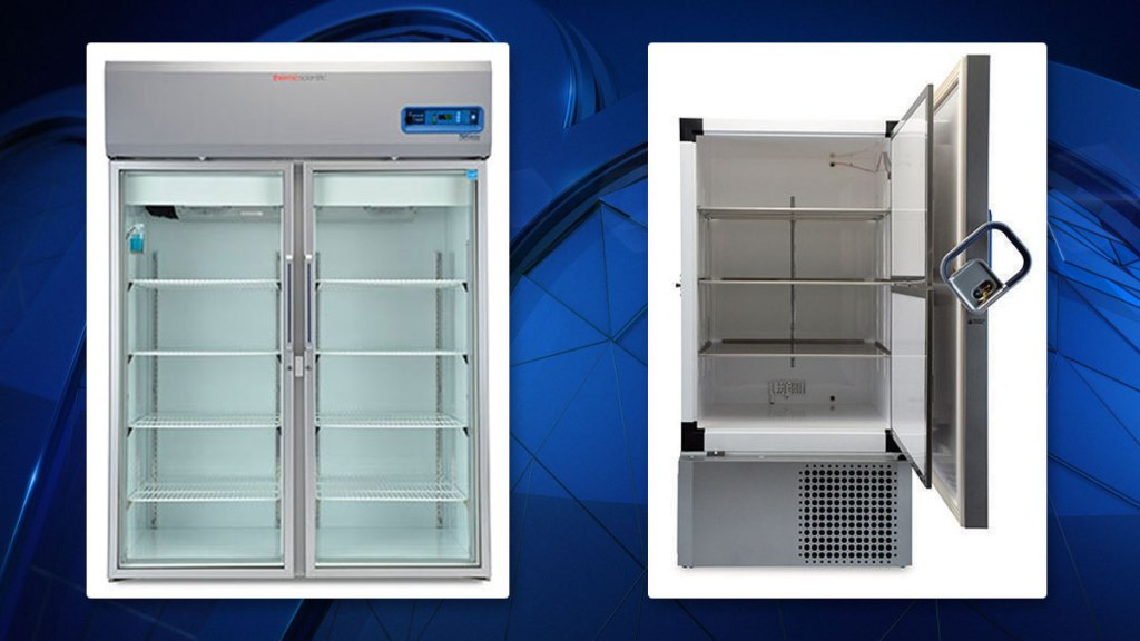 FILE - Freezers manufactured by Thermo Fisher, the company from which Tarrant County bought its freezers to store COVID-19 vaccines.