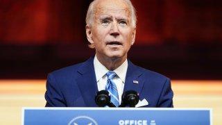 U.S. President-elect Joe Biden delivers a pre-Thanksgiving address at his transition headquarters in Wilmington, Delaware, November 25, 2020.
