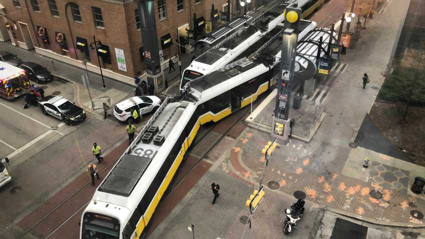 """A northbound Orange Line train """"made contact"""" with a southbound Red Line train at the St. Paul Station around 1:15 p.m., Dallas Area Rapid Transit spokesman Gordon Shattles said."""