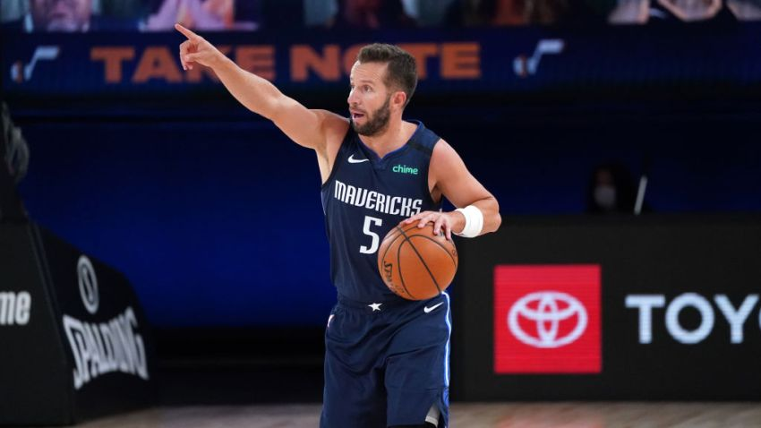 J.J. Barea #5 of the Dallas Mavericks handles the ball against the Utah Jazz on August 10, 2020 at the AdventHealth Arena at in Orlando, Florida.