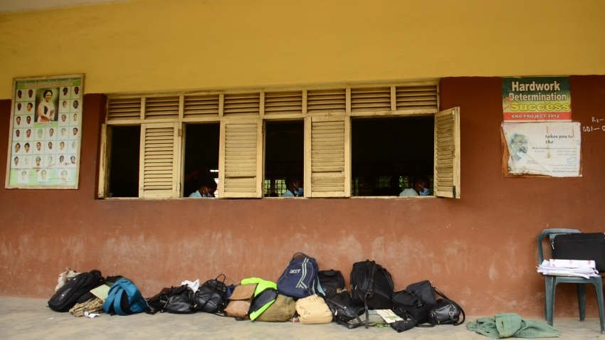 Backpacks outside a classroom in Lagos, Nigeria